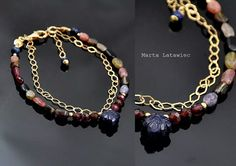 Silver, gold plated, gemstones
