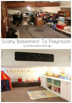 Scary basement to playroom www.somuchbetterwithage.com #basementreno #reno #basement #playroom