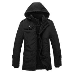 Sale 11% (54.66$) - Mens Thick Fleece Hooded Detachable Jacket Fashion Casual Stand Collar Winter Black Coat