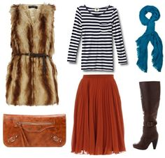 red pleated skirt from dortohy perkins  faux fur