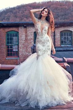 2019 Vestidos de boda de Tulle del alto cuello trasero atractivo atractivo  Sirena rebordeada Corpiño Beautiful. Beautiful Wedding GownsSexy ... 2d59d64d50c7