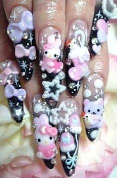 Kawaii Nail Art, Cute Nail Art, Really Cute Nails, Pretty Nails, Cute Acrylic Nail Designs, Nail Art Designs, Sophisticated Nails, Nailed It, Anime Nails
