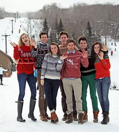 preppy New England winter-- looks more like ugly sweater day for the guys. Winter Sweaters, Sweater Weather, Christmas Sweaters, Prep Style, My Style, Ugly Sweater Day, Nordic Sweater, England Winter, Sous Pull