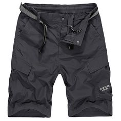 Mens Summer Quick-drying Breathable Solid Color Knee Length Casual Shorts