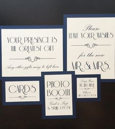 These simple Art Nouveau style signs can be made with any text you request, so they are custom just for your event. You can use them for Sparkler Send-Off, Cigar Bar, Photo Booth, Guest Book Sign, Cards and Gift Table, reserved....anything you can fit on there, Ill do :)  Standard Design: - single sided - Mounted to heavy card stock- can lean or use in standard holder or a photo frame...very sturdy! - Ready to ship in 1-3 business days **if ordering to match my Table Numbers, please order…