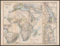 Afrika; Rar K 444 Old Maps, Vintage World Maps, Africa, Draw, Old Cards