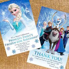 Customized Disney Frozen Birthday Party Invite & Thank You - Digital Files on Etsy, $12.00