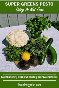 Healthy, vegan, nut free, super greens pesto recipe. Nut Free, Grain Free, Dairy Free, Healthy Meals, Healthy Recipes, Green Pesto, Super Greens, Pesto Recipe, Allergies