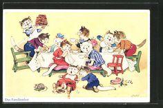 tolle Künstler-AK Fritz Baumgarten: Das Familienfest, Katzen zu Tisch in Sammeln & Seltenes, Ansichtskarten, Motive | eBay
