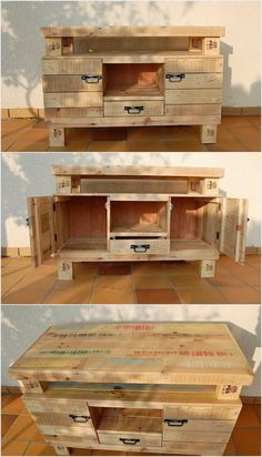 Moving to the next we have the creatively designed wood pallet table. This table can be ideally used as the media table as well. In this pallet table you will view the appearance of the drawers and cabinets as well that is used as the purpose of the storage.