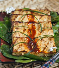 Grilled Marinated Tofu -spicy, simple and delicious side dish  @SECooking | Sandra #asianfood