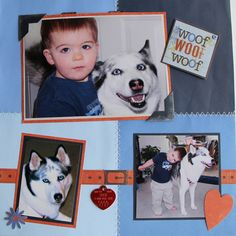 A boy and his dog - Scrapbook.com... Gotta do that collar idea for my next pet page!