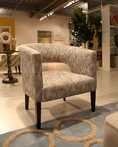 Mid-modern patterened-slipper-chair from Younger Ave. 62