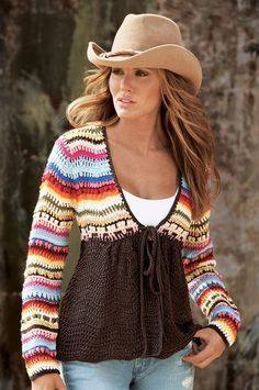 Hand-crocheted cozy cardigan. (Picture only, for inspiration)