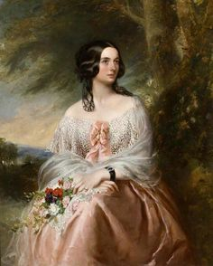 Lady Emily Isham wears an open-work bertha adorned with pink ribbons on a salmon dress for her Buckner portrait. Victorian Paintings, Victorian Art, Classic Paintings, Beautiful Paintings, Portrait Art, Portraits, Classical Art, Art Uk, Woman Painting