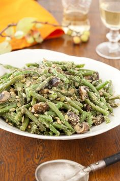 Eat Clean for Thanksgiving! Healthy Green Bean Casserole with Pumpkin Seed Crumble