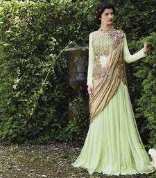Buy Beige embroidered Georgette party-wear-salwar-kameez party-wear-gown online
