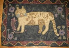 Hand Hooked Rugs :: Cat With Mouse :: Hooked Rugs