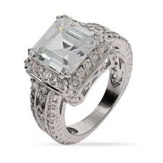 Sterling Silver Dazzling Asscher Cut CZ Cocktail Ring -- Details can be found by clicking on the image.