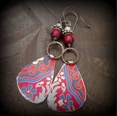 Tin Wood Hippie Retro Flower Beaded Earrings by YuccaBloom on Etsy