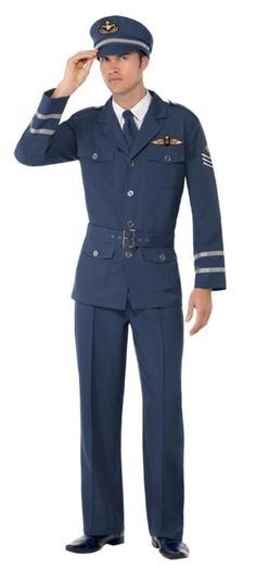 Smiffy's WW2 Air Force Captain Costume, Navy, Medium