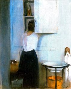 It's About Time: Woman Getting Ready to Meet the Day by Ramon Casas i Carbo (Spanish painter, Spanish Painters, Spanish Artists, Oil Canvas, Figurative Kunst, Illustration Art, Illustrations, Paintings I Love, Ramones, Figure Painting