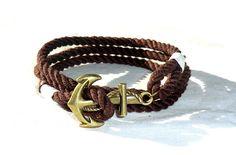 Mens Bracelet Anchor Bracelet Nautical Bracelet Anchor Jewelry Nautical Jewelry Anchor charm  Gift for her Gift for him Anchor Rope Bracelet by HappyAnchorStore on Etsy https://www.etsy.com/ca/listing/255672185/mens-bracelet-anchor-bracelet-nautical