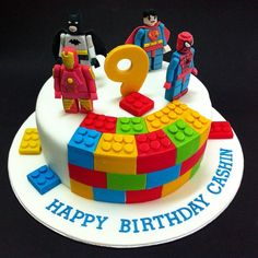 Image viaWe just made a similar birthday cake using two pans and jumbo marshmallows sliced in thirds. We made 6 bricks per pan with 2 long cuts and one…Image vialego cake, lego pa Lego Superhero Cake, Lego Cake, 3d Cakes, Fondant Cakes, Cupcake Cakes, Avenger Cake, Cake Pictures, Cake Pics, Novelty Cakes