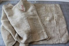 Last weekend was our monthly carboot hunt in Chiswick, and I found this beautiful antique hemp grain sack for a steal. It's French and has b. Drop Cloth Projects, Textile Fabrics, Textile Art, Vintage Textiles, Vintage Linen, Car Boot Sale, Sashiko Embroidery, Tablecloth Fabric, Feed Sacks