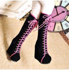 Gladiators Womens Goth Lace Roman High Platform Wedge Heels Knee High Boot