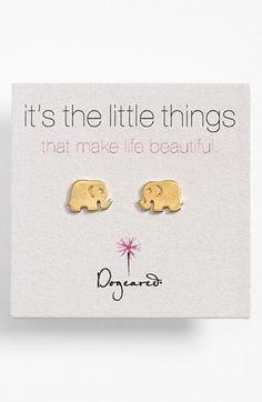 Free shipping and returns on Dogeared 'It's the Little Things' Elephant Stud Earrings at Nordstrom.com. Shiny, delicately molded stud earrings exude just the right amount of symbolism to make a meaningful gift or personal reward.