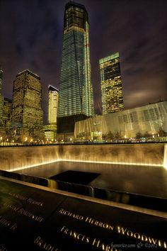 9/11 Memorial waterfall.