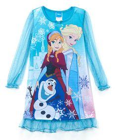 Look what I found on #zulily! Blue Frozen Nightgown - Girls by Frozen #zulilyfinds