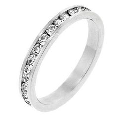 White Gold Rhodium Bonded Stacker Ring with Round Cut Clear CZ in a Channel Setting in Silvertone. #mycustommade