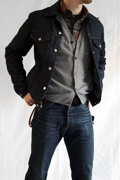Denim Jacket, Gray Cardigan, Plaid Shirt, and Jeans. Men's Fall Winter Fashion.