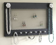Sale Jewelry Holder Frame Black With Flower Knobs Framed Jewelry Holder Earrings Necklaces Knob. $30.00, via Etsy.