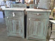 Old night stands brought back to life. The marble tops were missing and replaced with vintage marble then painted and heavily distressed with Duck Egg Blue from Chalk Paint® by Annie Sloan. Clear and Dark Soft Wax.