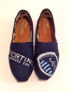 Custom Toms.  Hand painted with Sporting KC logo. www.etsy.com/shop/bluebellekc