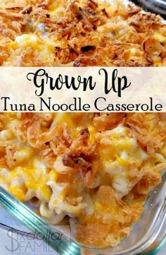 Up Tuna Noodle Casserole Recipe By Tuna (or Chicken) Noodle Casserole Recipe - Ready for an amazing casserole reci.Grown Up Tuna Noodle Casserole Recipe By Tuna (or Chicken) Noodle Casserole Recipe - Ready for an amazing casserole reci. Tuna Casserole Recipes, Chicken Noodle Casserole, Potato Recipes, Chicken Recipes, Hamburger Casserole, Tuna Casserole Healthy, Tuna Noodle Cassarole, Can Tuna Recipes, Tuna Caserole