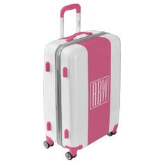 #Initials Monogram | White On Pink Luggage - custom #luggage #suitcase #suitcases #bags #trunk #trunks Pink Luggage, Luggage Suitcase, Custom Luggage, Monogram Gifts, Monogram Initials, Unique Presents, Unique Gifts, Monogram Styles, Suitcases