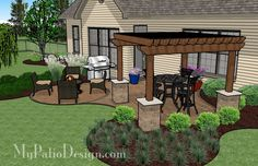 Beautiful Curvy Patio with Pergola | Patio Designs and Ideas