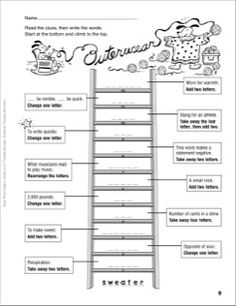 Free word ladder worksheets use with students in the within word outerwear word ladder grades 4 6 ccuart Images