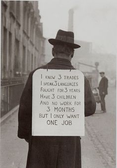 "JOB HUNTING IN THE 1930""s during America's Great Depression"