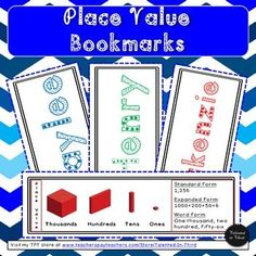 These Place Value Bookmarks are a great way to have your students practice what they are learning about place value in the form of a personalized bookmark. Your students will love these two-sided bookmarks, while you will love the knowledge t All About Me Activities, Back To School Activities, School Ideas, Math Place Value, Place Values, Comprehension Activities, Reading Comprehension, Creative Teaching, Teaching Tips