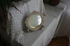 """Купить Зеркало """"Чайная роза"""" - белый, зеркало декупаж, Декупаж, винтаж, слоновая кость"""