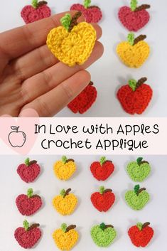 In Love with Apples Crochet Applique - an easy and quick crochet applique, a great addition to your kitchen accessories, back-to-school, and baby item. Crochet Apple, Crochet Fruit, Crochet Flowers, Crochet Cupcake, Crochet Applique Patterns Free, Crochet Motif, Free Crochet, Simple Crochet Patterns, Crochet Crafts