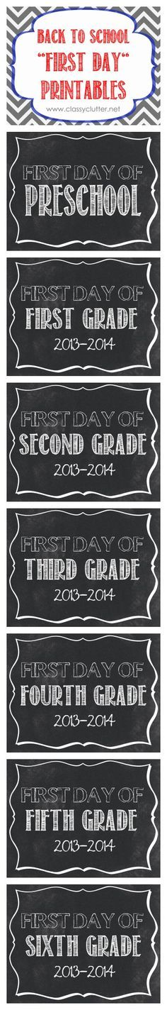 First Day of School Printables: Preschool, Pre-K, and K-12! I like that it has the school year on them so you know what year you took the photo! Such a fun idea!