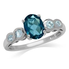 1.46ct. Genuine London Blue Topaz White Gold Plated 925 Sterling Silver Engagement Ring Size 9 *** Remarkable jewelry available now. : Engagement Ring
