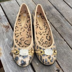 Glam Safari Flats Beautiful animal print flats with sequins and jeweled brass decor. Never worn. Glam Shoes Flats & Loafers
