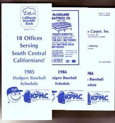 LOT OF 3 UNFOLDED LOS ANGELES DODGER KPMC BASBALL POCKET SCHEDULES 1985 & 1986 #Pocket #SCHEDULELOT